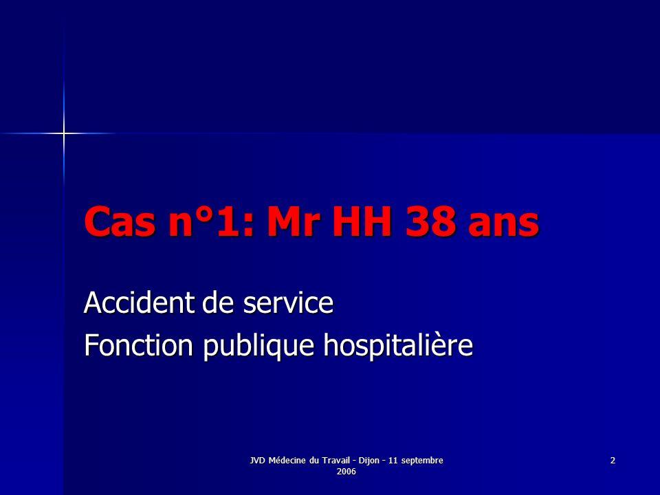 JVD Médecine du Travail - Dijon - 11 septembre 2006 2 Cas n°1: Mr HH 38 ans Accident de service Fonction publique hospitalière