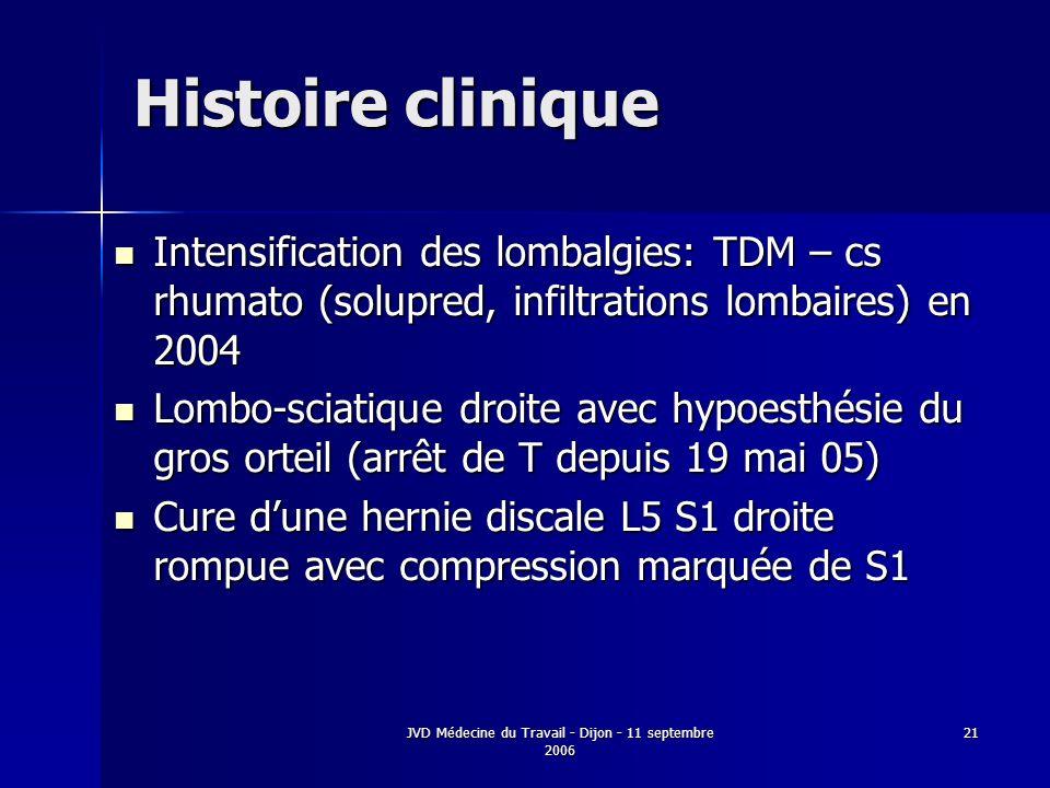 JVD Médecine du Travail - Dijon - 11 septembre 2006 21 Histoire clinique Intensification des lombalgies: TDM – cs rhumato (solupred, infiltrations lombaires) en 2004 Intensification des lombalgies: TDM – cs rhumato (solupred, infiltrations lombaires) en 2004 Lombo-sciatique droite avec hypoesthésie du gros orteil (arrêt de T depuis 19 mai 05) Lombo-sciatique droite avec hypoesthésie du gros orteil (arrêt de T depuis 19 mai 05) Cure dune hernie discale L5 S1 droite rompue avec compression marquée de S1 Cure dune hernie discale L5 S1 droite rompue avec compression marquée de S1