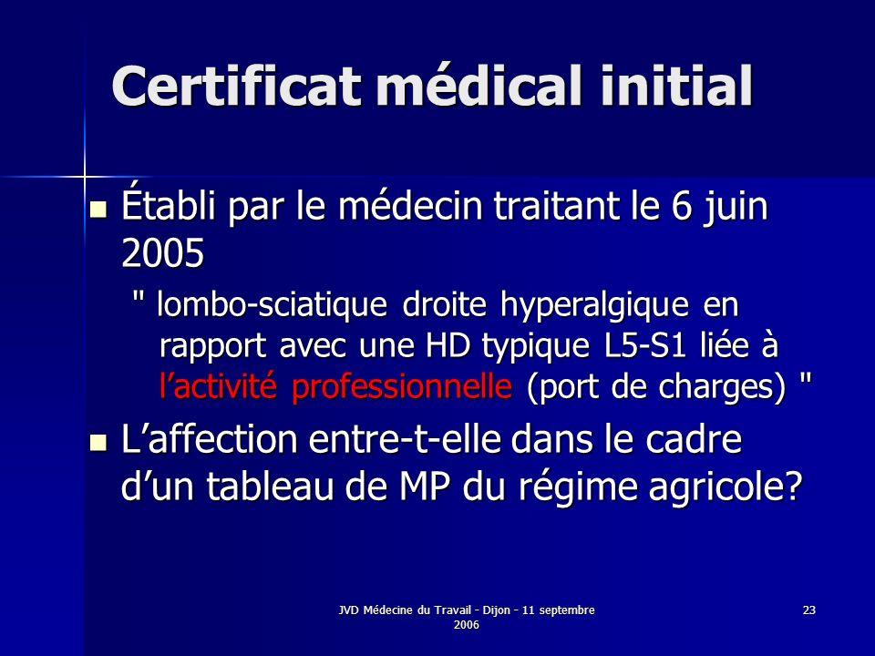 JVD Médecine du Travail - Dijon - 11 septembre 2006 23 Certificat médical initial Établi par le médecin traitant le 6 juin 2005 Établi par le médecin traitant le 6 juin 2005 lombo-sciatique droite hyperalgique en rapport avec une HD typique L5-S1 liée à lactivité professionnelle (port de charges) Laffection entre-t-elle dans le cadre dun tableau de MP du régime agricole.