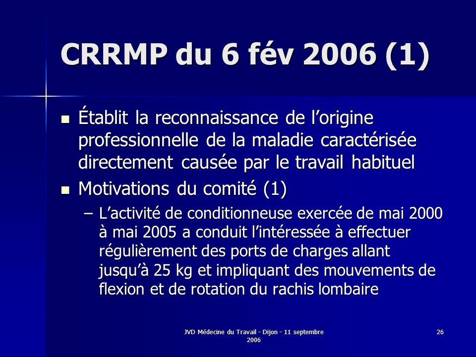JVD Médecine du Travail - Dijon - 11 septembre 2006 26 CRRMP du 6 fév 2006 (1) Établit la reconnaissance de lorigine professionnelle de la maladie car