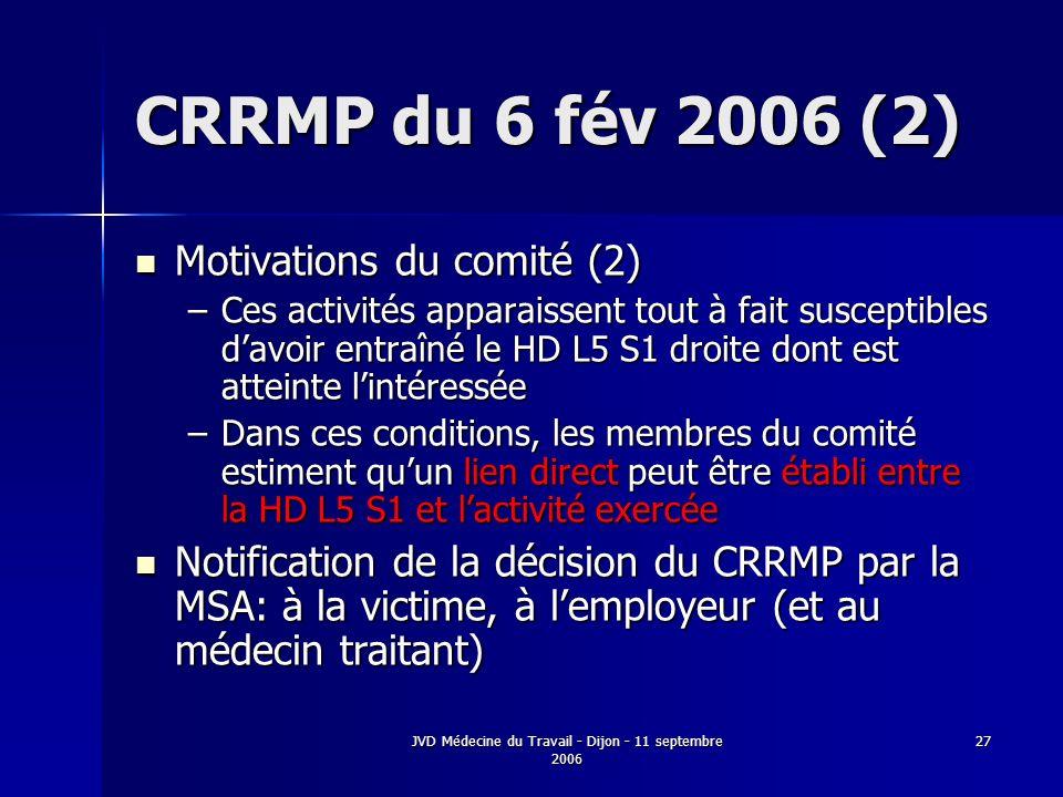 JVD Médecine du Travail - Dijon - 11 septembre 2006 27 CRRMP du 6 fév 2006 (2) Motivations du comité (2) Motivations du comité (2) –Ces activités apparaissent tout à fait susceptibles davoir entraîné le HD L5 S1 droite dont est atteinte lintéressée –Dans ces conditions, les membres du comité estiment quun lien direct peut être établi entre la HD L5 S1 et lactivité exercée Notification de la décision du CRRMP par la MSA: à la victime, à lemployeur (et au médecin traitant) Notification de la décision du CRRMP par la MSA: à la victime, à lemployeur (et au médecin traitant)