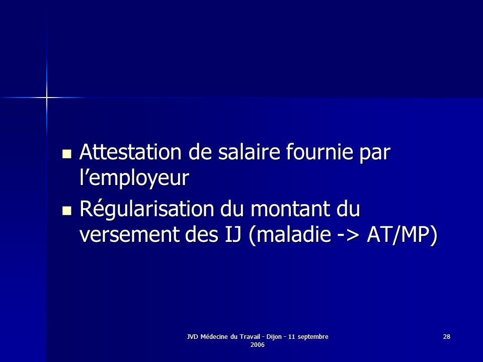 JVD Médecine du Travail - Dijon - 11 septembre 2006 28 Attestation de salaire fournie par lemployeur Attestation de salaire fournie par lemployeur Régularisation du montant du versement des IJ (maladie -> AT/MP) Régularisation du montant du versement des IJ (maladie -> AT/MP)