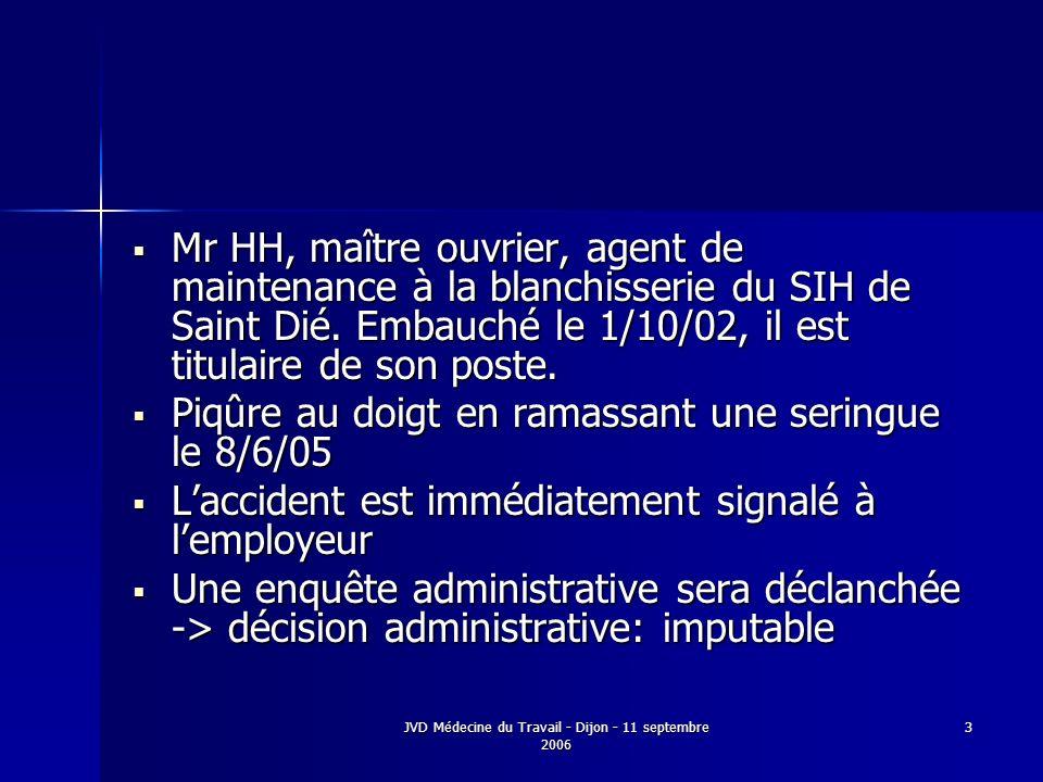 JVD Médecine du Travail - Dijon - 11 septembre 2006 3 Mr HH, maître ouvrier, agent de maintenance à la blanchisserie du SIH de Saint Dié. Embauché le