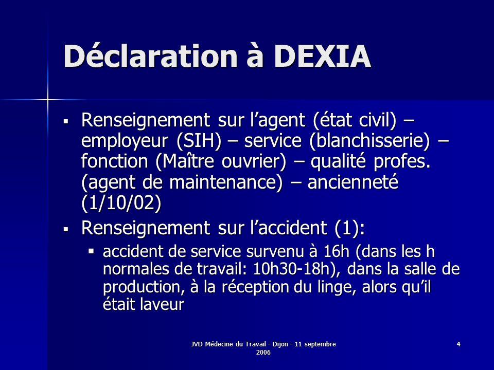 JVD Médecine du Travail - Dijon - 11 septembre 2006 4 Déclaration à DEXIA Renseignement sur lagent (état civil) – employeur (SIH) – service (blanchisserie) – fonction (Maître ouvrier) – qualité profes.