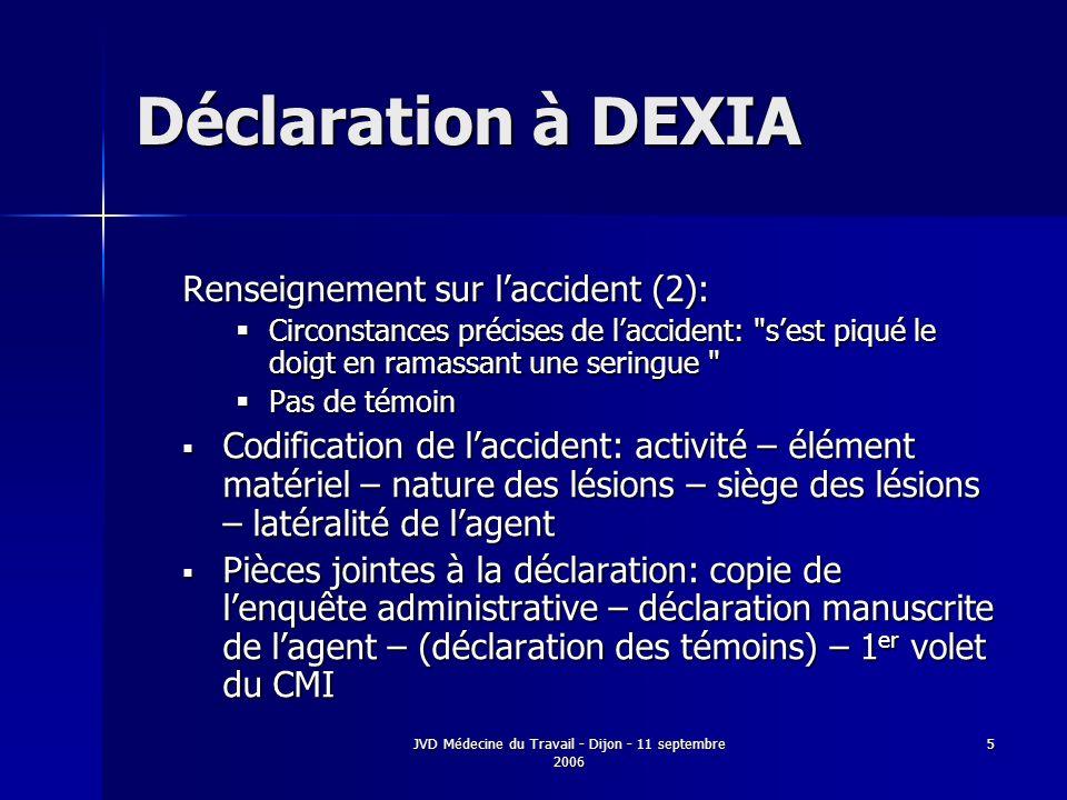 JVD Médecine du Travail - Dijon - 11 septembre 2006 5 Déclaration à DEXIA Renseignement sur laccident (2): Circonstances précises de laccident: