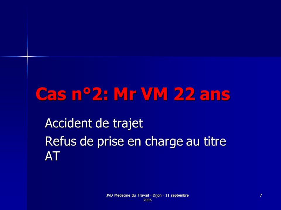 JVD Médecine du Travail - Dijon - 11 septembre 2006 7 Cas n°2: Mr VM 22 ans Accident de trajet Refus de prise en charge au titre AT