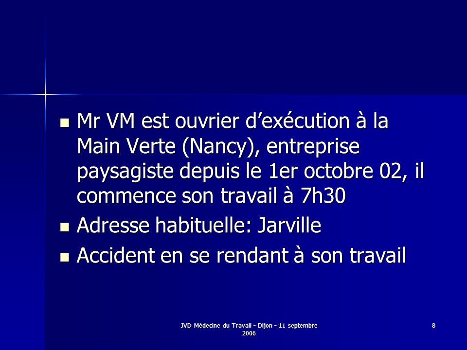 JVD Médecine du Travail - Dijon - 11 septembre 2006 8 Mr VM est ouvrier dexécution à la Main Verte (Nancy), entreprise paysagiste depuis le 1er octobre 02, il commence son travail à 7h30 Mr VM est ouvrier dexécution à la Main Verte (Nancy), entreprise paysagiste depuis le 1er octobre 02, il commence son travail à 7h30 Adresse habituelle: Jarville Adresse habituelle: Jarville Accident en se rendant à son travail Accident en se rendant à son travail