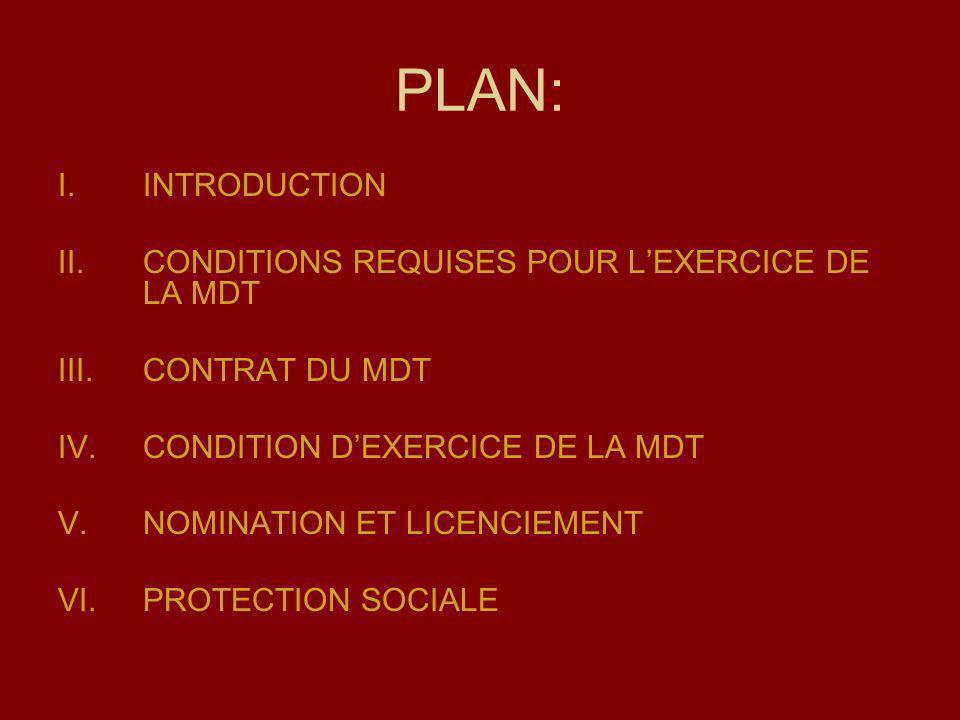 PLAN: I.INTRODUCTION II.CONDITIONS REQUISES POUR LEXERCICE DE LA MDT III.CONTRAT DU MDT IV.CONDITION DEXERCICE DE LA MDT V.NOMINATION ET LICENCIEMENT