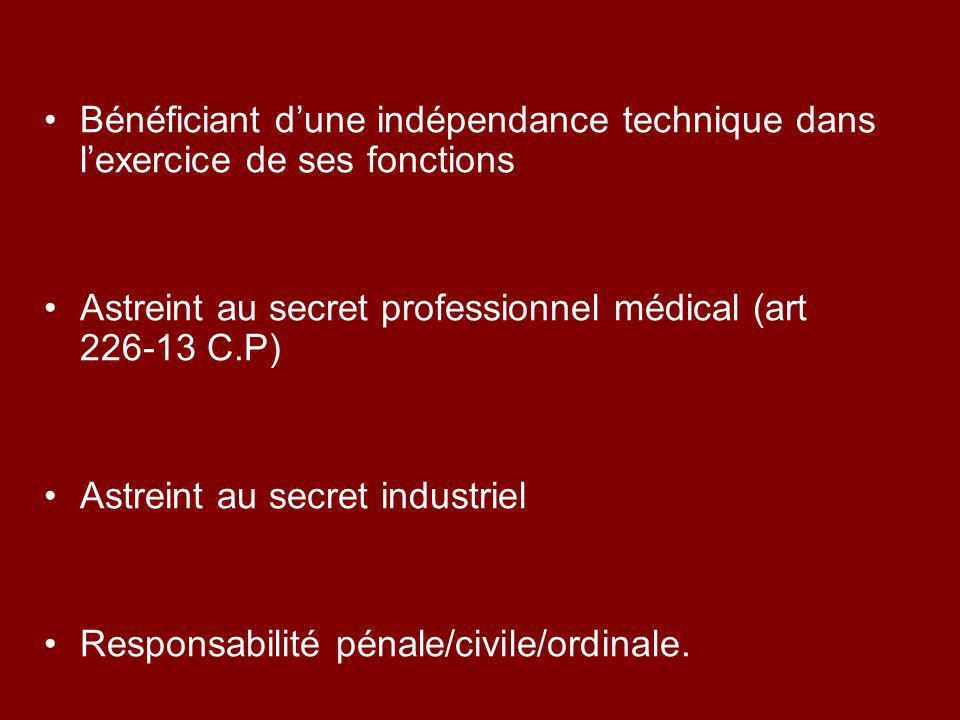 Bénéficiant dune indépendance technique dans lexercice de ses fonctions Astreint au secret professionnel médical (art 226-13 C.P) Astreint au secret i