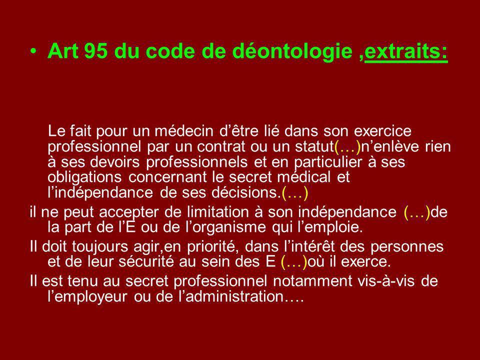 Art 95 du code de déontologie,extraits: Le fait pour un médecin dêtre lié dans son exercice professionnel par un contrat ou un statut(…)nenlève rien à