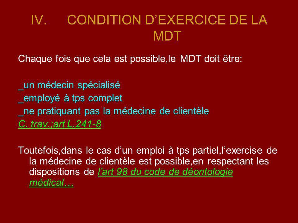 IV.CONDITION DEXERCICE DE LA MDT Chaque fois que cela est possible,le MDT doit être: _un médecin spécialisé _employé à tps complet _ne pratiquant pas
