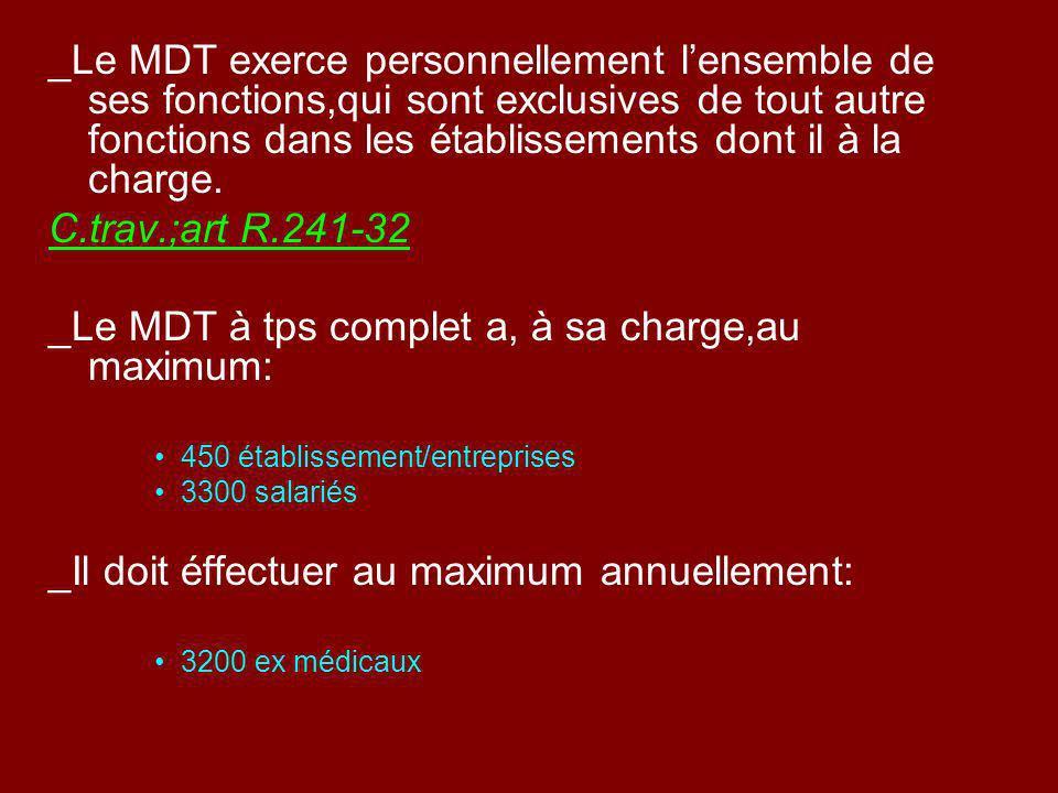 _Le MDT exerce personnellement lensemble de ses fonctions,qui sont exclusives de tout autre fonctions dans les établissements dont il à la charge. C.t