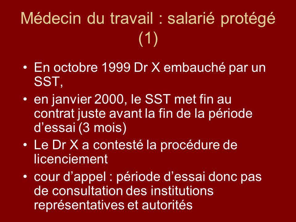 Médecin du travail : salarié protégé (1) En octobre 1999 Dr X embauché par un SST, en janvier 2000, le SST met fin au contrat juste avant la fin de la