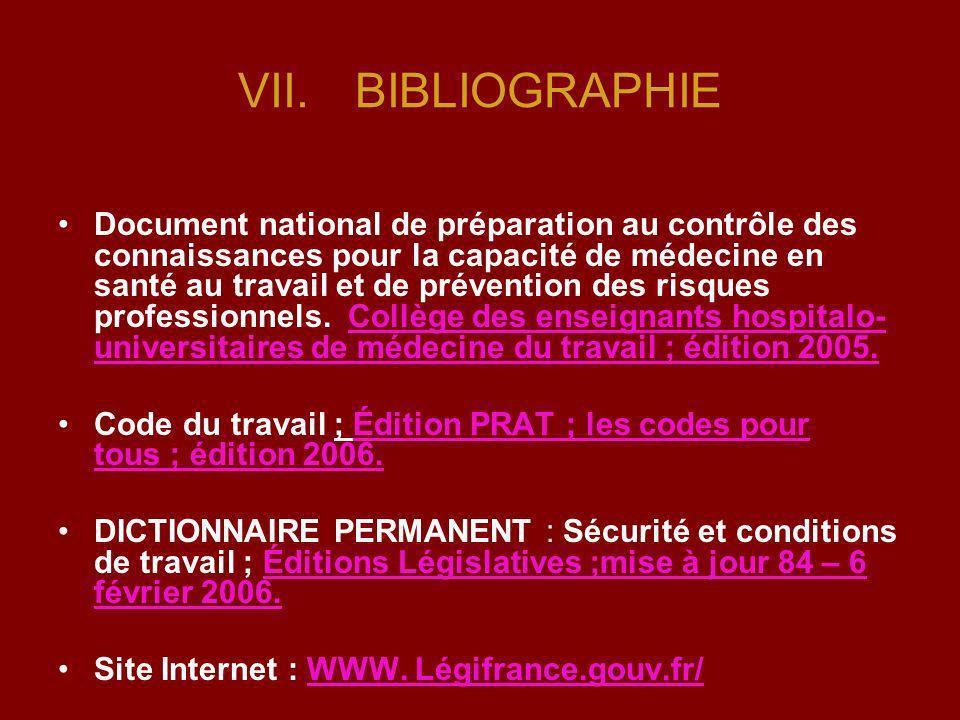 VII.BIBLIOGRAPHIE Document national de préparation au contrôle des connaissances pour la capacité de médecine en santé au travail et de prévention des