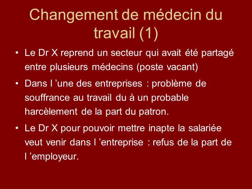 Changement de médecin du travail (1) Le Dr X reprend un secteur qui avait été partagé entre plusieurs médecins (poste vacant) Dans l une des entrepris
