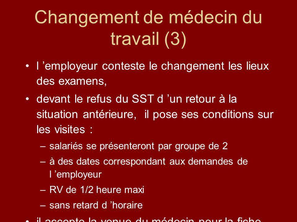 Changement de médecin du travail (3) l employeur conteste le changement les lieux des examens, devant le refus du SST d un retour à la situation antér