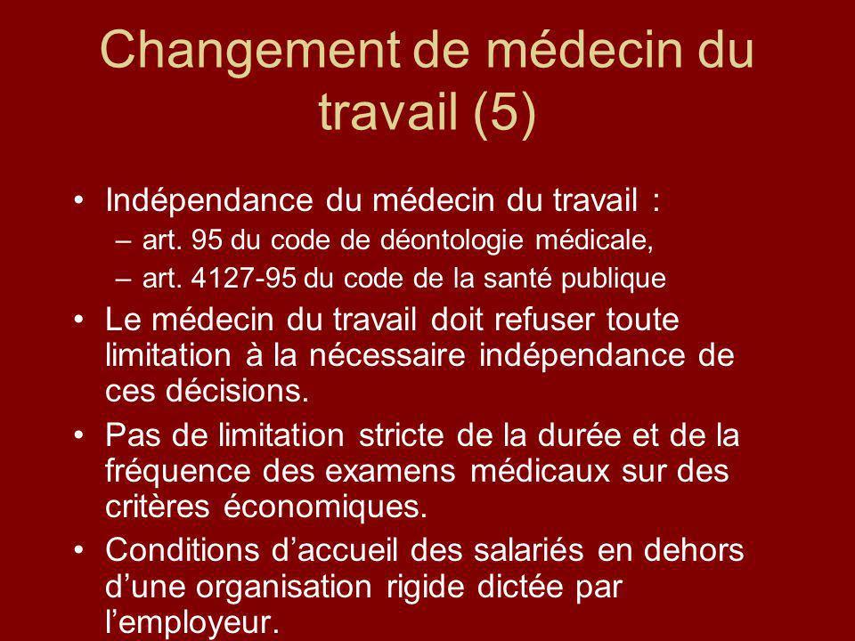Changement de médecin du travail (5) Indépendance du médecin du travail : –art. 95 du code de déontologie médicale, –art. 4127-95 du code de la santé