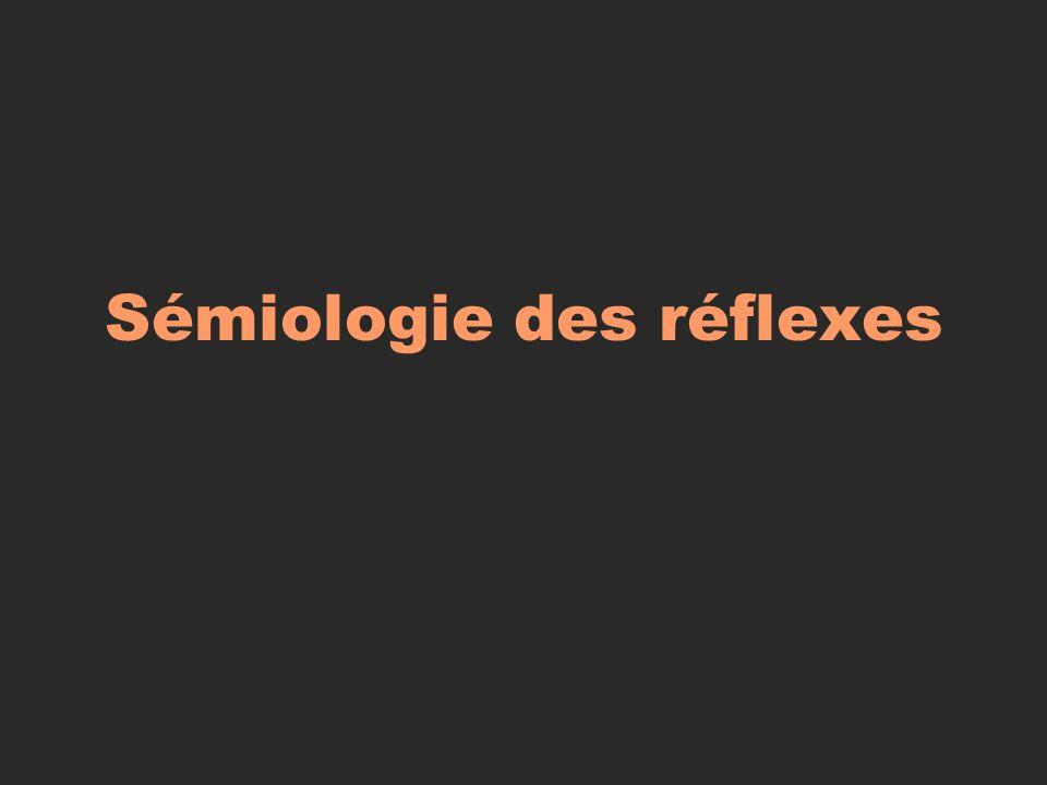 Réflexe cutané plantaire : Réponse normale: fléxion ; Réponse anormale (signe de Babinski): extension ; Signification :