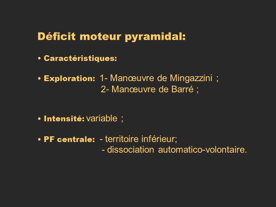 Déficit moteur pyramidal: Caractéristiques: Exploration: 1- Manœuvre de Mingazzini ; 2- Manœuvre de Barré ; Intensité: variable ; PF centrale: - terri