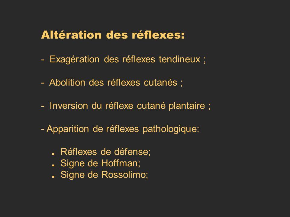 Altération des réflexes: - Exagération des réflexes tendineux ; - Abolition des réflexes cutanés ; - Inversion du réflexe cutané plantaire ; - Apparit
