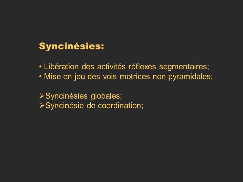 Syncinésies: Libération des activités réflexes segmentaires; Mise en jeu des vois motrices non pyramidales; Syncinésies globales; Syncinésie de coordi