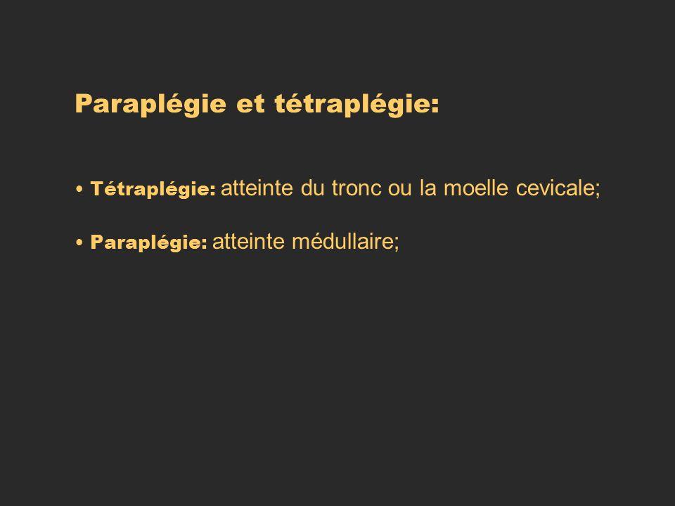 Paraplégie et tétraplégie: Tétraplégie: atteinte du tronc ou la moelle cevicale; Paraplégie: atteinte médullaire;