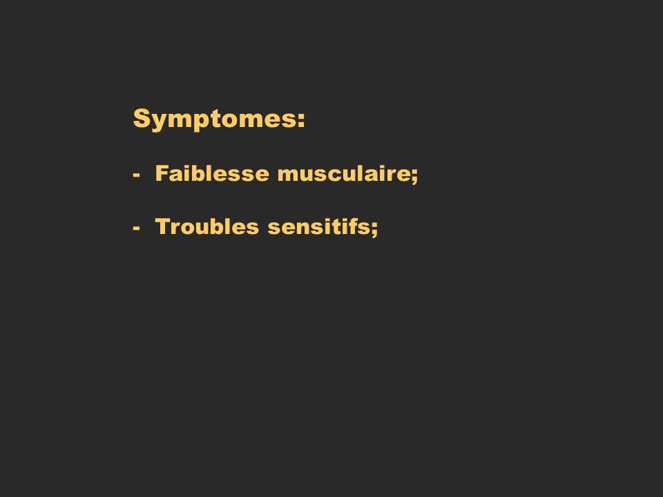 Symptomes: - Faiblesse musculaire; - Troubles sensitifs;