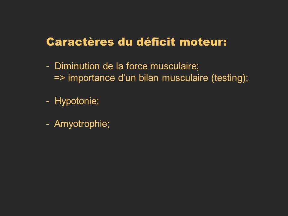 Caractères du déficit moteur: - Diminution de la force musculaire; => importance dun bilan musculaire (testing); - Hypotonie; - Amyotrophie;