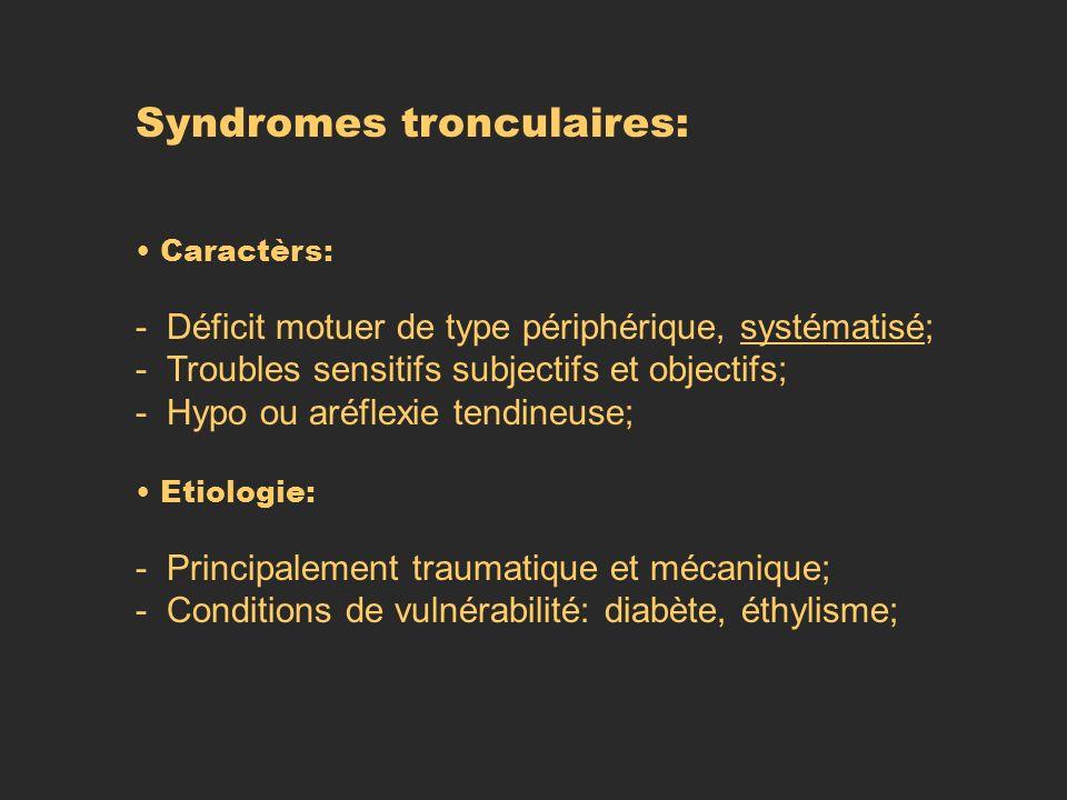 Syndromes tronculaires: Caractèrs: - Déficit motuer de type périphérique, systématisé; - Troubles sensitifs subjectifs et objectifs; - Hypo ou aréflex
