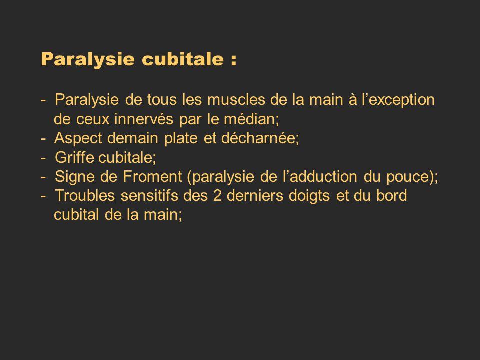 Paralysie cubitale : - Paralysie de tous les muscles de la main à lexception de ceux innervés par le médian; - Aspect demain plate et décharnée; - Gri