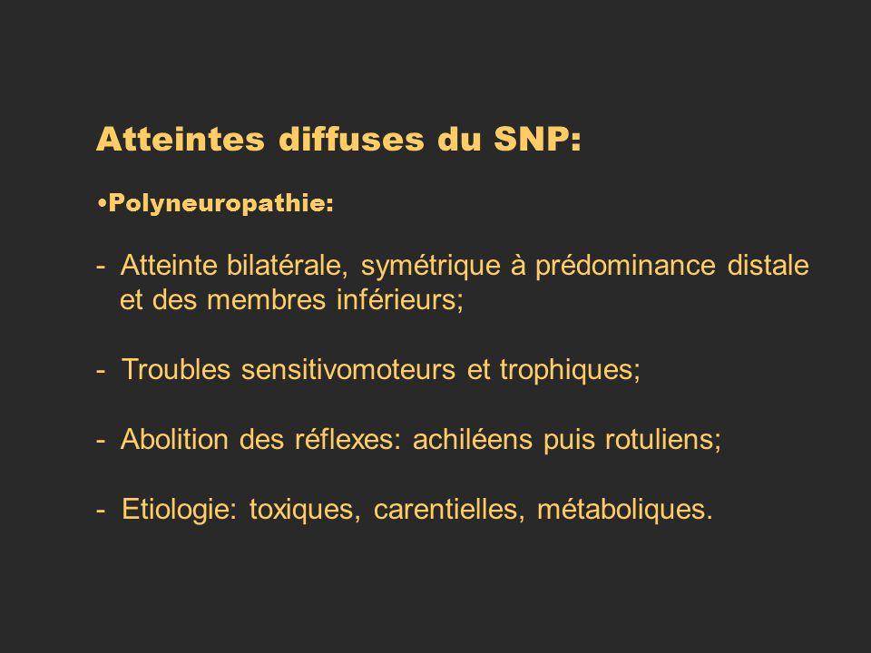 Atteintes diffuses du SNP: Polyneuropathie: - Atteinte bilatérale, symétrique à prédominance distale et des membres inférieurs; - Troubles sensitivomo