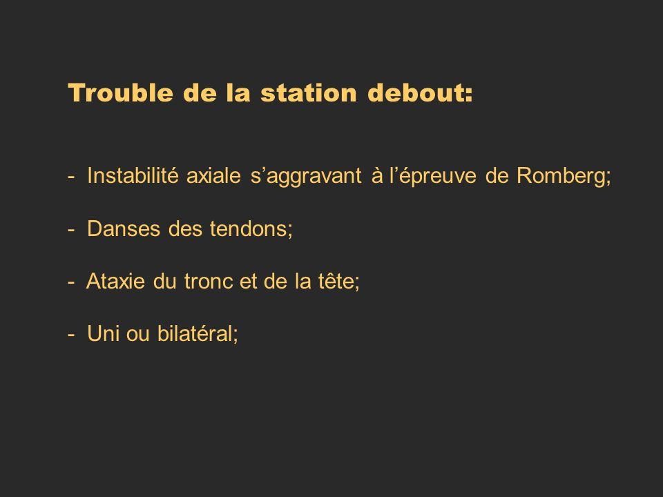 Trouble de la station debout: - Instabilité axiale saggravant à lépreuve de Romberg; - Danses des tendons; - Ataxie du tronc et de la tête; - Uni ou b