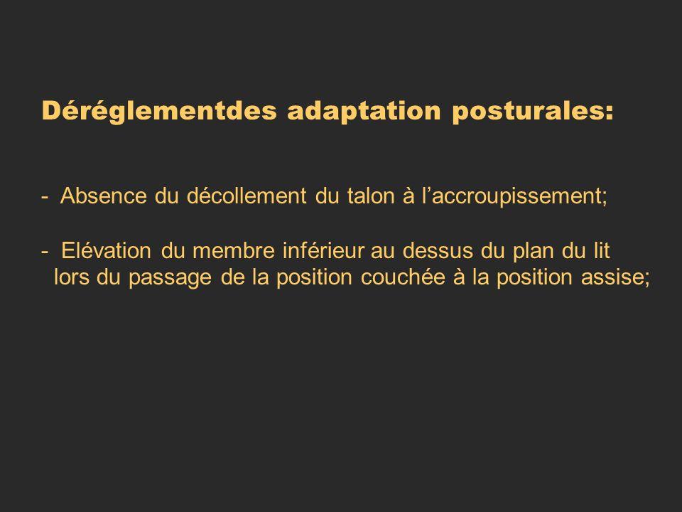 Déréglementdes adaptation posturales: - Absence du décollement du talon à laccroupissement; - Elévation du membre inférieur au dessus du plan du lit l