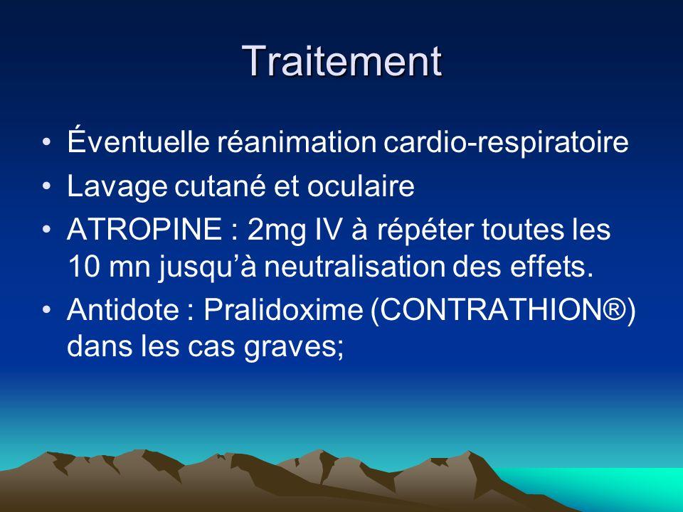Traitement Éventuelle réanimation cardio-respiratoire Lavage cutané et oculaire ATROPINE : 2mg IV à répéter toutes les 10 mn jusquà neutralisation des effets.