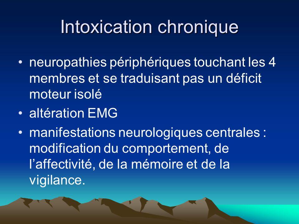 Intoxication chronique neuropathies périphériques touchant les 4 membres et se traduisant pas un déficit moteur isolé altération EMG manifestations neurologiques centrales : modification du comportement, de laffectivité, de la mémoire et de la vigilance.
