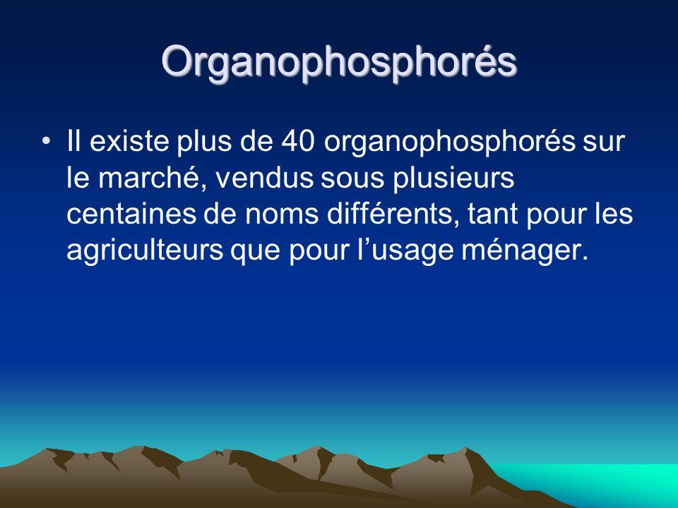 Organophosphorés Il existe plus de 40 organophosphorés sur le marché, vendus sous plusieurs centaines de noms différents, tant pour les agriculteurs que pour lusage ménager.