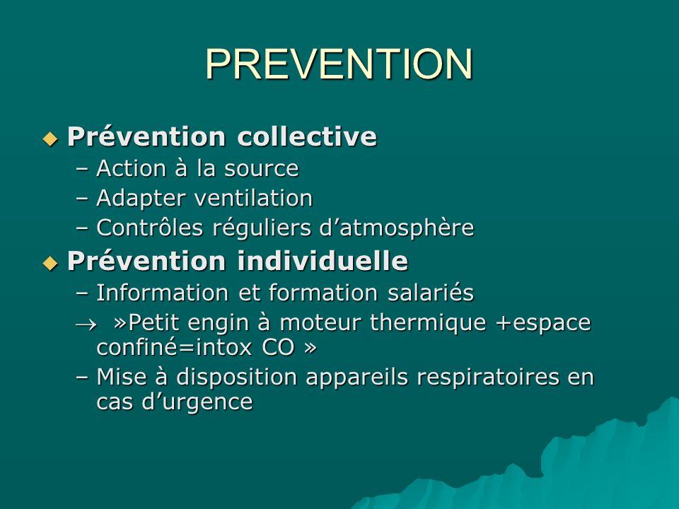 PREVENTION Prévention collective Prévention collective –Action à la source –Adapter ventilation –Contrôles réguliers datmosphère Prévention individuel