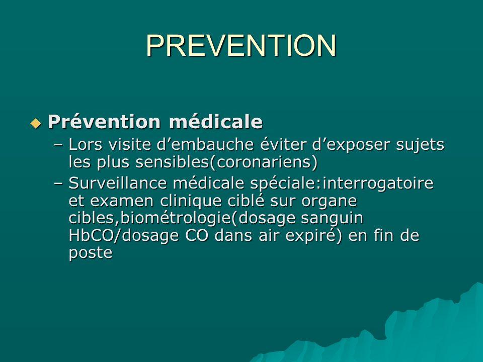 PREVENTION Prévention médicale Prévention médicale –Lors visite dembauche éviter dexposer sujets les plus sensibles(coronariens) –Surveillance médical