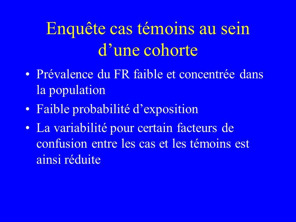 Enquête cas témoins au sein dune cohorte Prévalence du FR faible et concentrée dans la population Faible probabilité dexposition La variabilité pour c