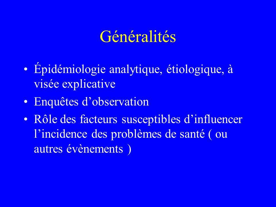 Généralités Épidémiologie analytique, étiologique, à visée explicative Enquêtes dobservation Rôle des facteurs susceptibles dinfluencer lincidence des