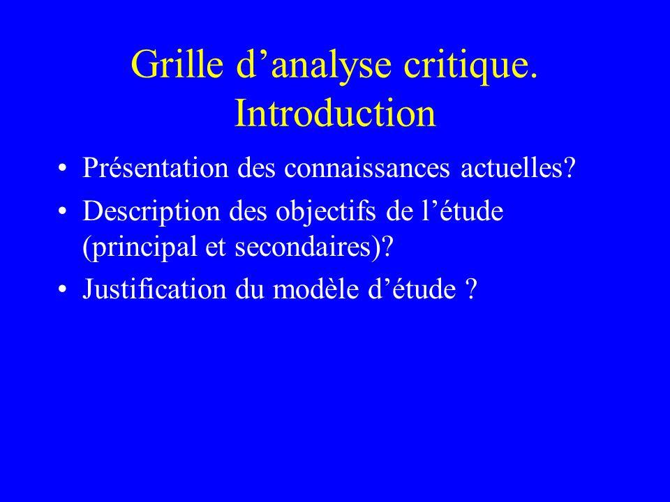 Grille danalyse critique. Introduction Présentation des connaissances actuelles? Description des objectifs de létude (principal et secondaires)? Justi