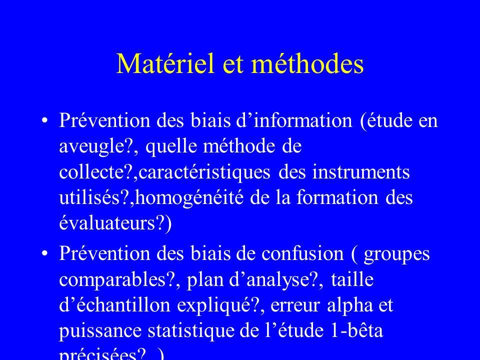 Matériel et méthodes Prévention des biais dinformation (étude en aveugle?, quelle méthode de collecte?,caractéristiques des instruments utilisés?,homo