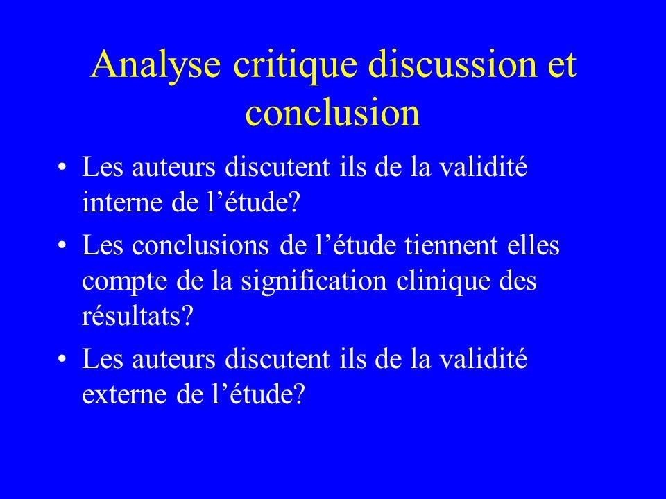 Analyse critique discussion et conclusion Les auteurs discutent ils de la validité interne de létude? Les conclusions de létude tiennent elles compte