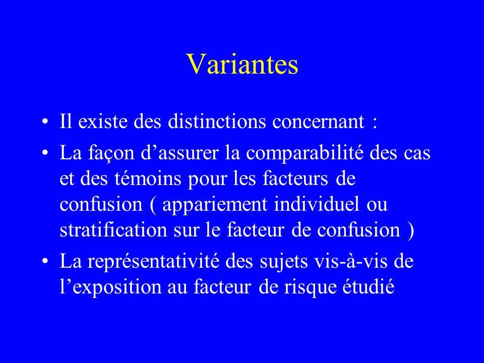 Variantes Il existe des distinctions concernant : La façon dassurer la comparabilité des cas et des témoins pour les facteurs de confusion ( apparieme