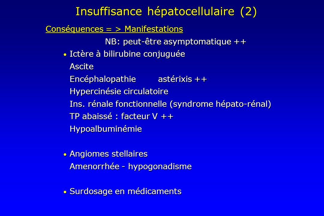 Insuffisance hépatocellulaire (2) Conséquences = > Manifestations NB: peut-être asymptomatique ++ Ictère à bilirubine conjuguée Ictère à bilirubine co