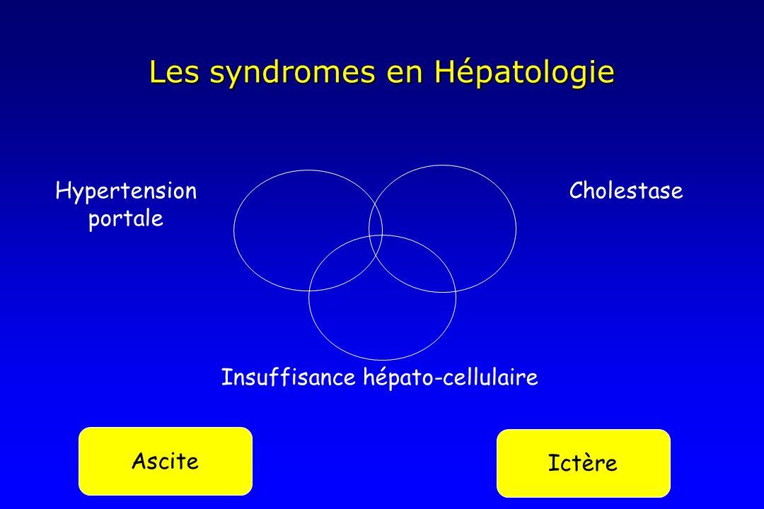 Les syndromes en Hépatologie Ascite Ictère Hypertension portale Cholestase Insuffisance hépato-cellulaire