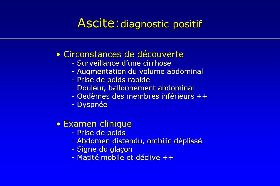 Ascite: diagnostic positif Circonstances de découverte Circonstances de découverte - Surveillance dune cirrhose - Augmentation du volume abdominal - P