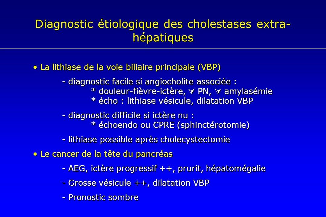 Diagnostic étiologique des cholestases extra- hépatiques La lithiase de la voie biliaire principale (VBP) La lithiase de la voie biliaire principale (
