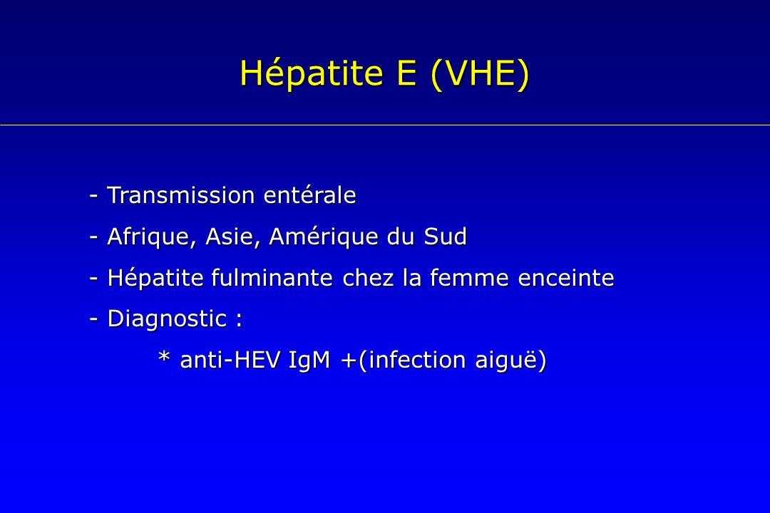 Hépatite E (VHE) - Transmission entérale - Afrique, Asie, Amérique du Sud - Hépatite fulminante chez la femme enceinte - Diagnostic : * anti-HEV IgM +