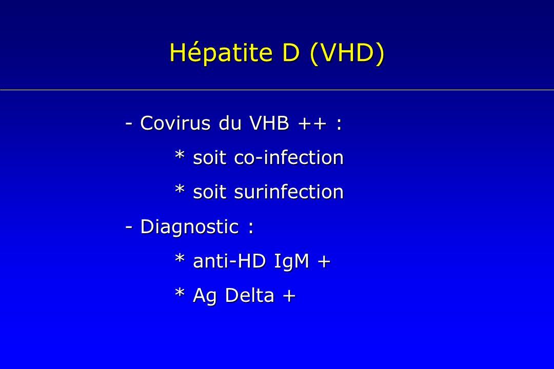 Hépatite D (VHD) - Covirus du VHB ++ : * soit co-infection * soit surinfection - Diagnostic : * anti-HD IgM + * Ag Delta +